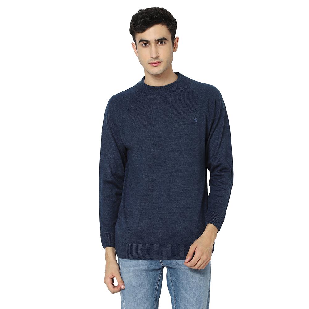 VENITIAN | Venitian Mens Solid Turtle Neck Acrylic Blend Indigo Sweater