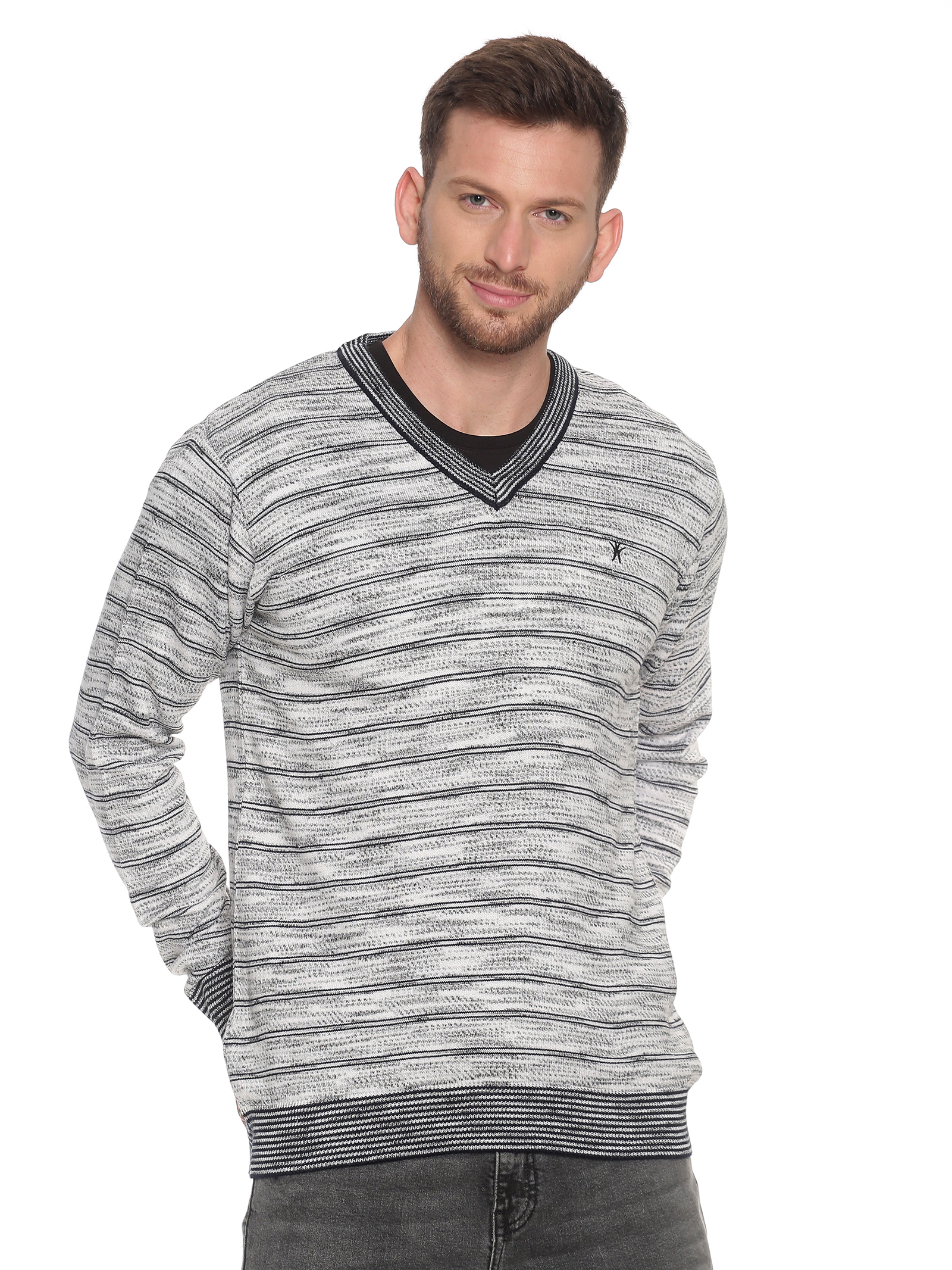 VENITIAN | Venitian Mens Self Design V Neck  Acrylic Blend WIne Sweater