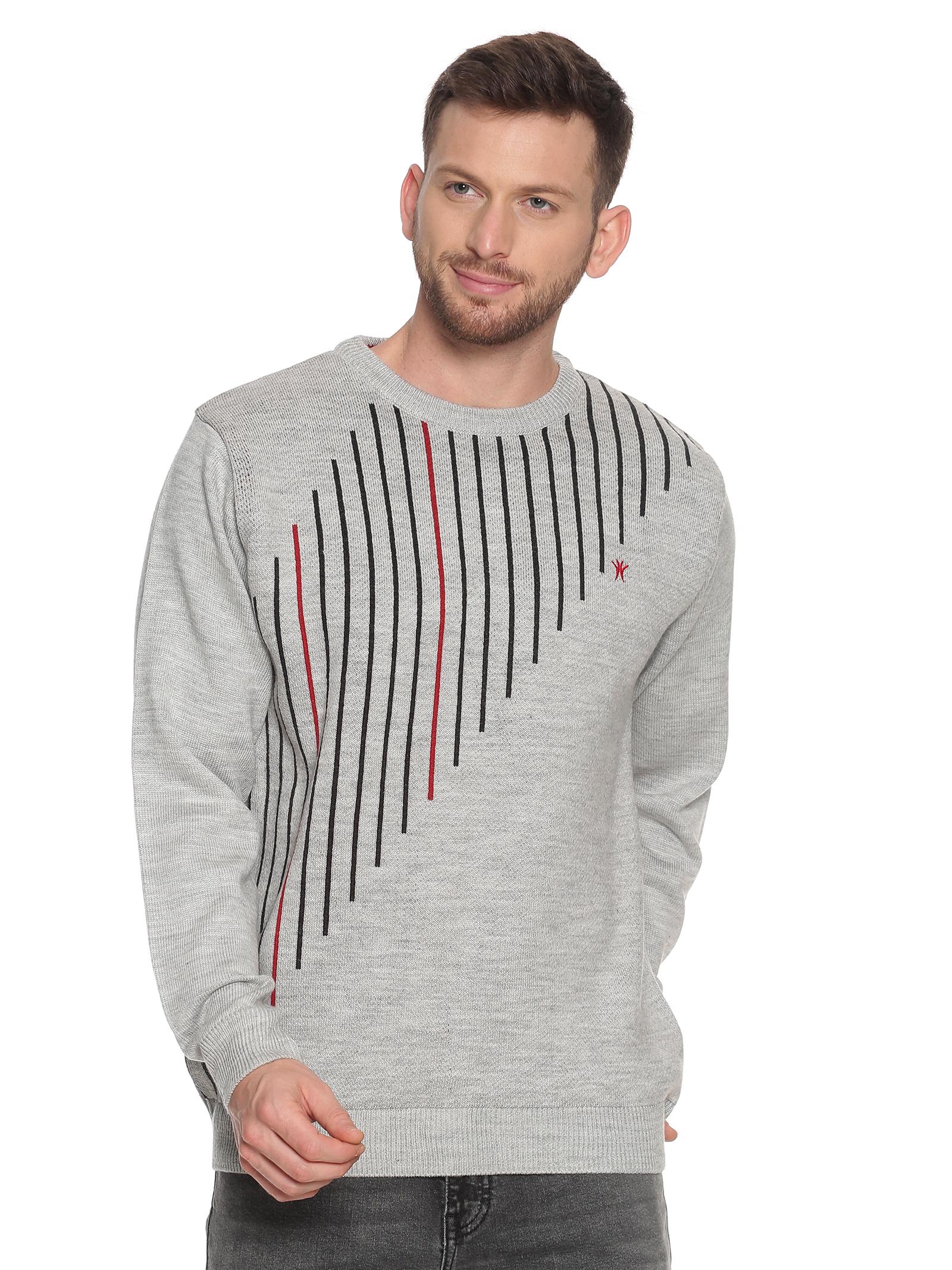 VENITIAN | Venitian Mens Self Design Round Neck  Acrylic Blend Ecru Sweater