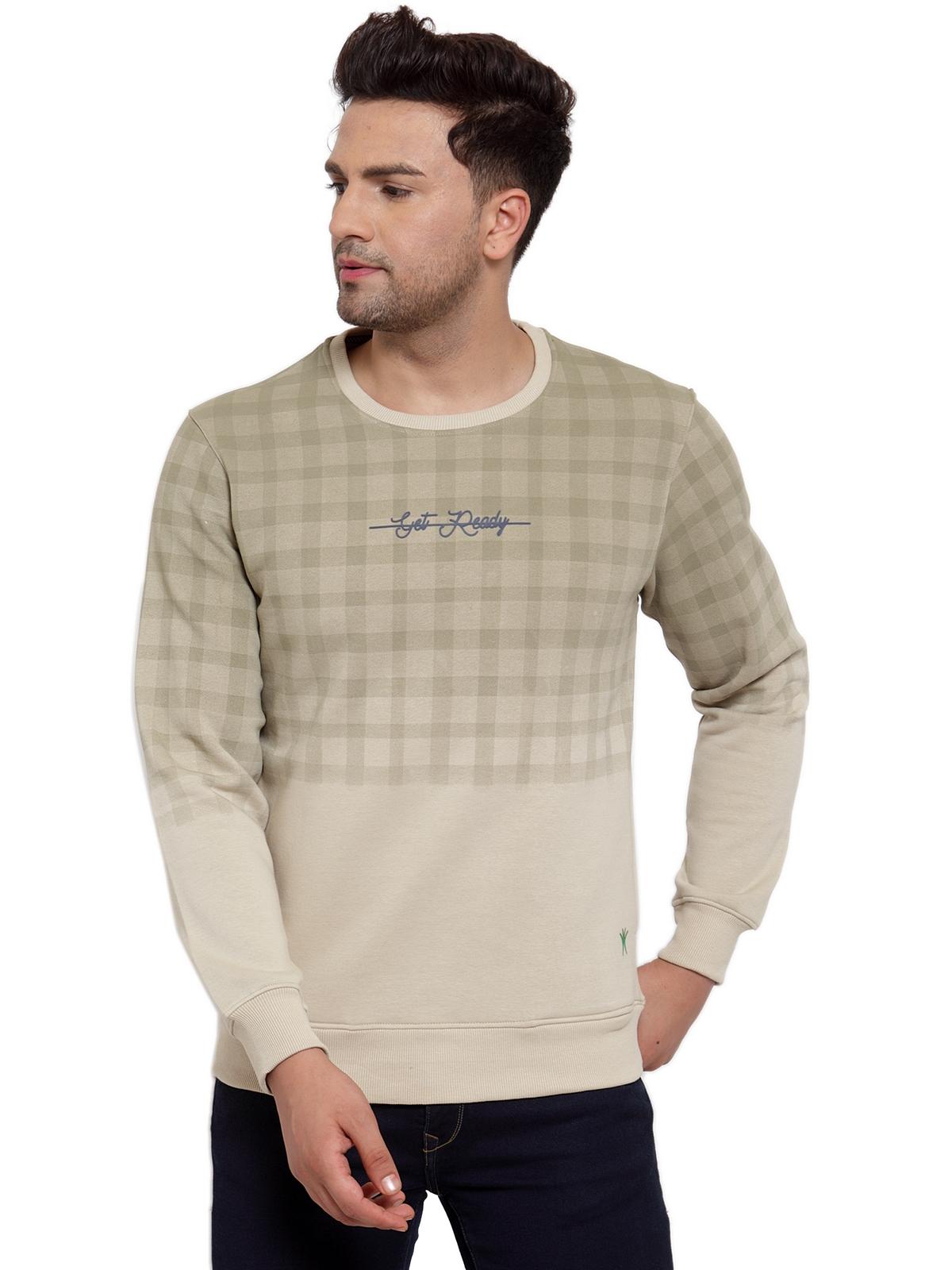 VENITIAN   Venitian Mens Light Olive Printed Round Neck Sweat-Shirt