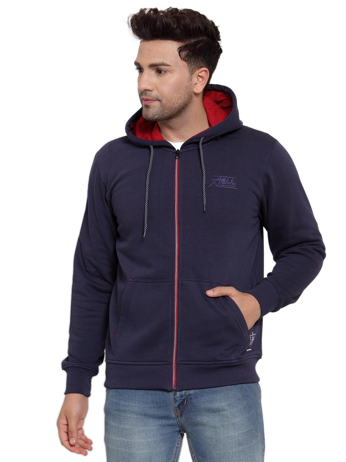 VENITIAN | Venitian Mens Navy Printed Zipper Sweat-shirt with Hood