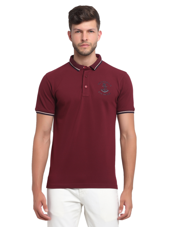 VENITIAN | Venitian Mens Solid Cotton Blend Burgundy Tshirt