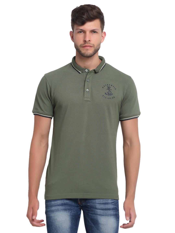 VENITIAN | Venitian Mens Solid Cotton Blend Olive Tshirt