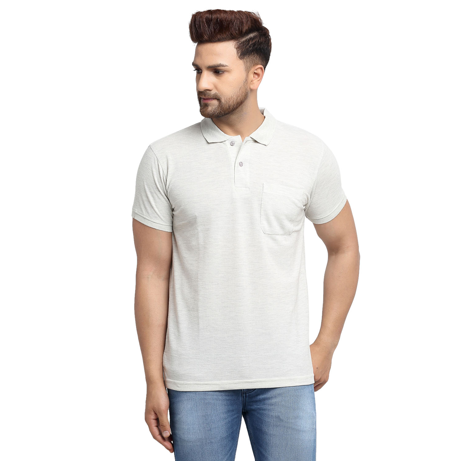 VENITIAN   Venitian Mens Solid Polo Neck Grey Solid Tshirt With Pocket