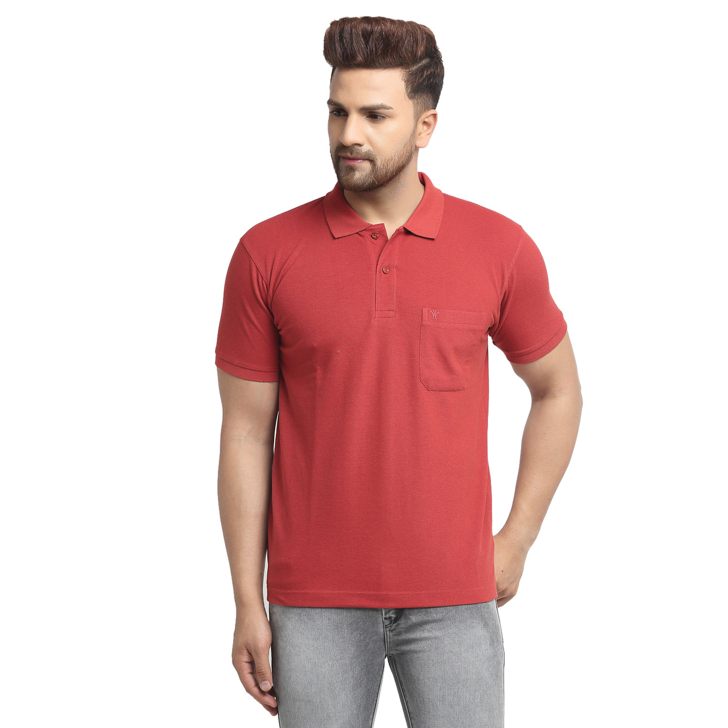VENITIAN | Venitian Mens Solid Polo Neck Tomato Solid Tshirt With Pocket