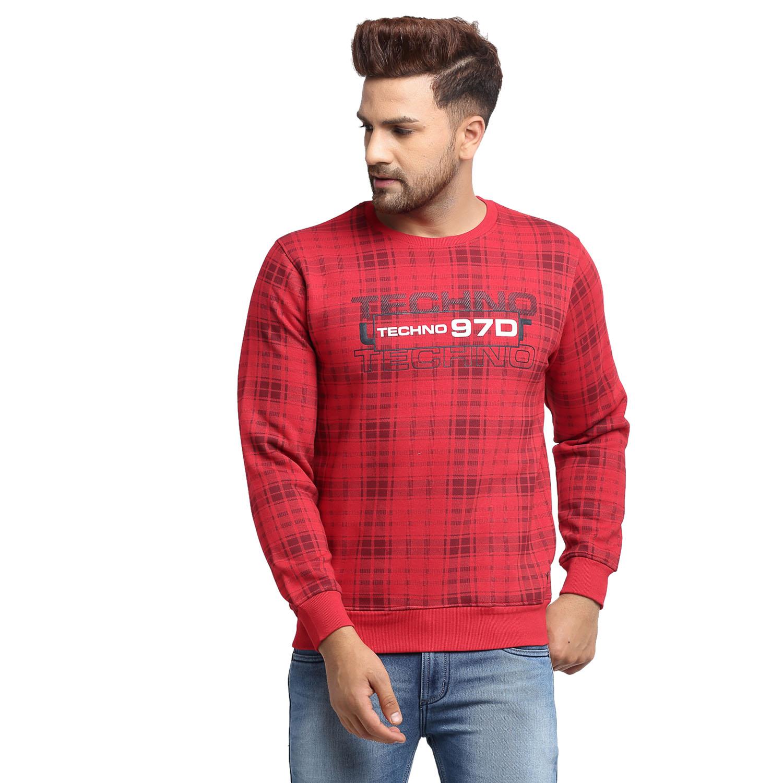 VENITIAN | Venitian Mens Printed Round Neck Red Cotton Fleece Sweat-Shirt