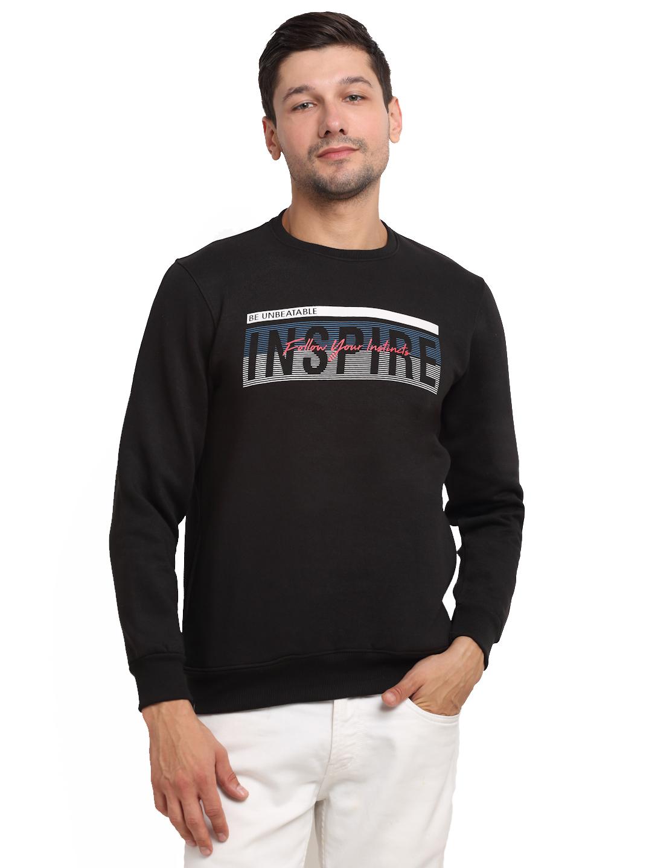 VENITIAN | Venitian Mens Printed Round Neck Black Sweat-Shirt