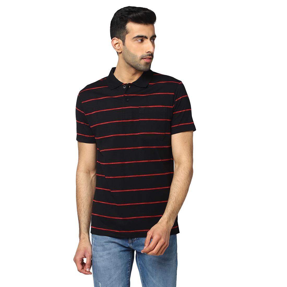 VENITIAN | Venitian Mens Cotton Blend Striped Polo Neck Tshirt With Pocket