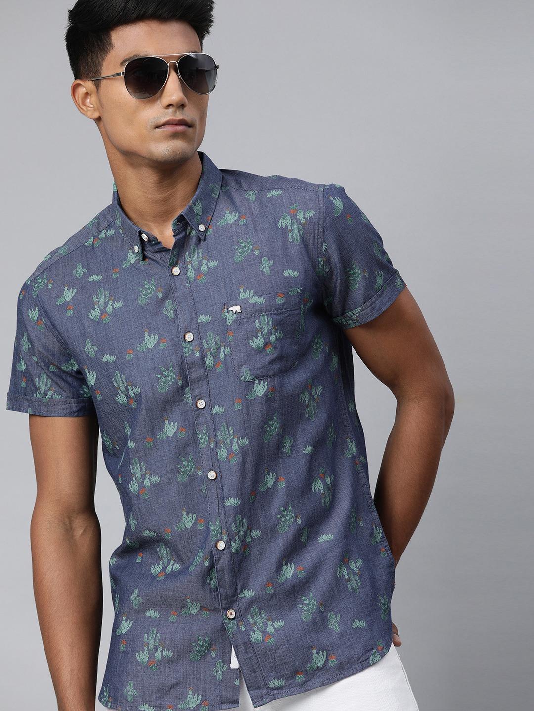 The Bear House | Men's Blue Printed Casual Shirt