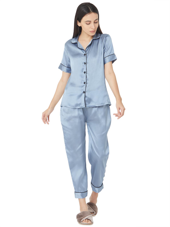 Smarty Pants   Silk satin slate blue night suit