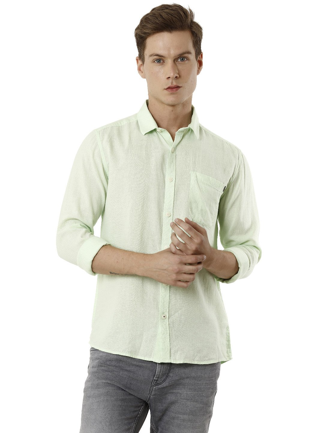 Voi Jeans | Green Casual Shirts (VOSH1335)
