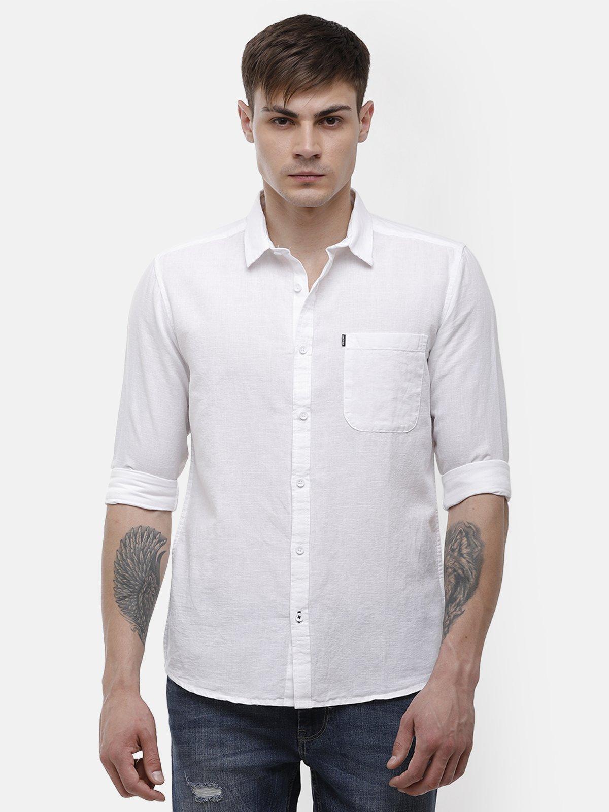 Voi Jeans   White Casual Shirt ( VOSH1349)