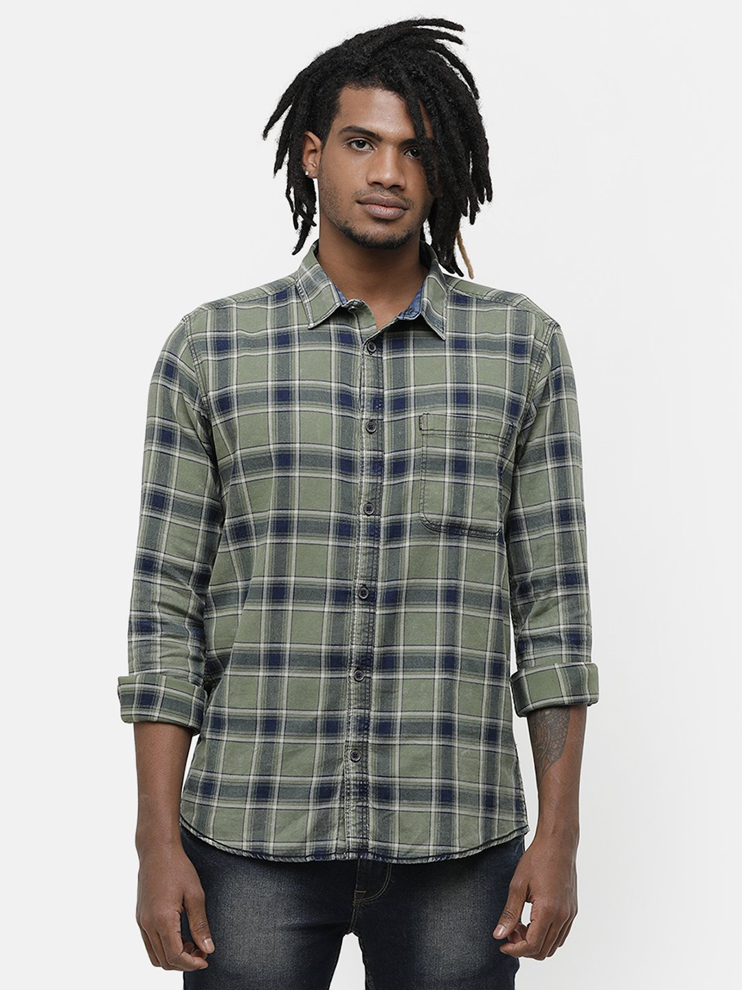 Voi Jeans | Green Casual Shirts (VOSH1351)