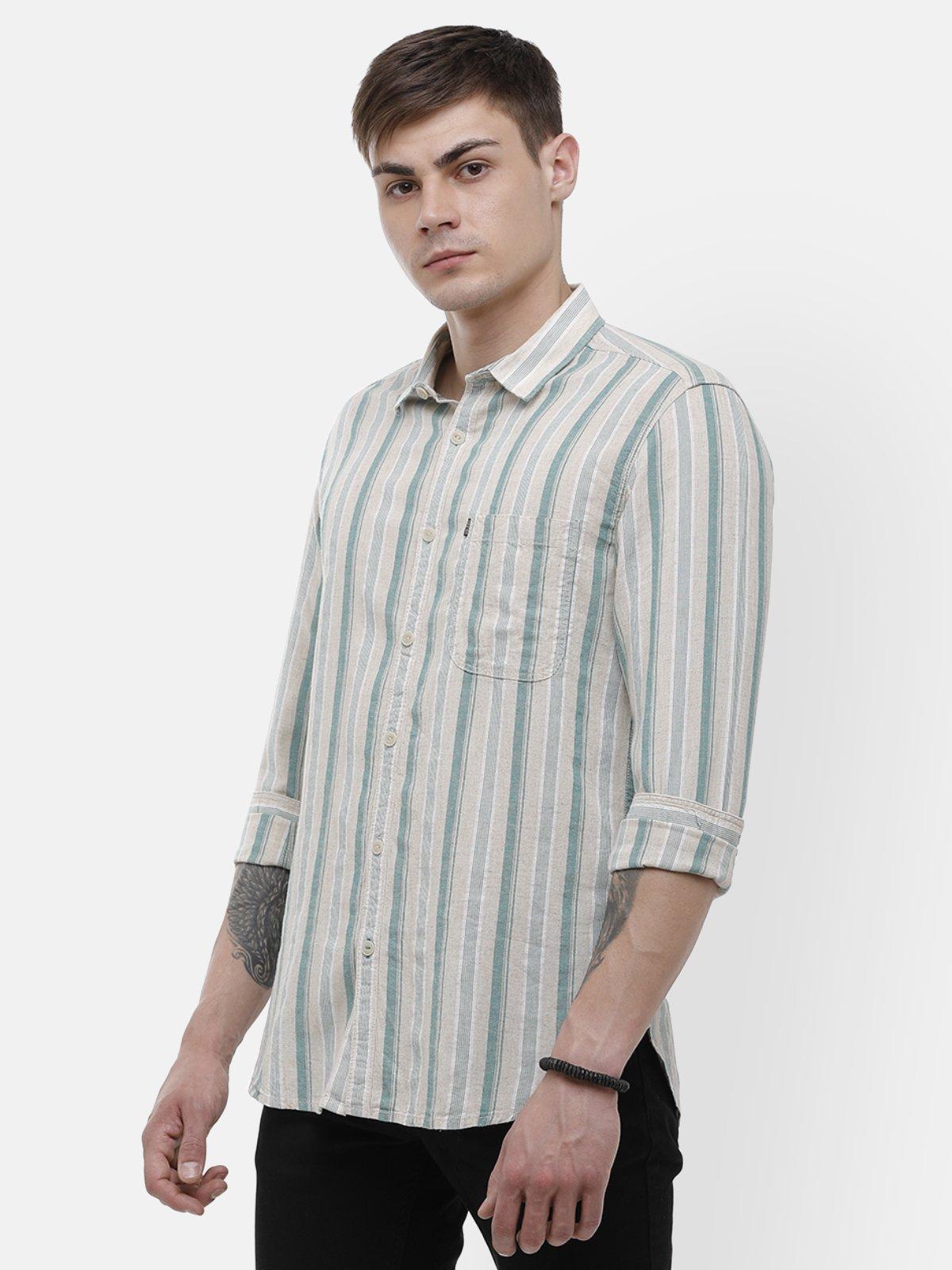 Voi Jeans | Green, Beige Casual Shirt ( VOSH1403)