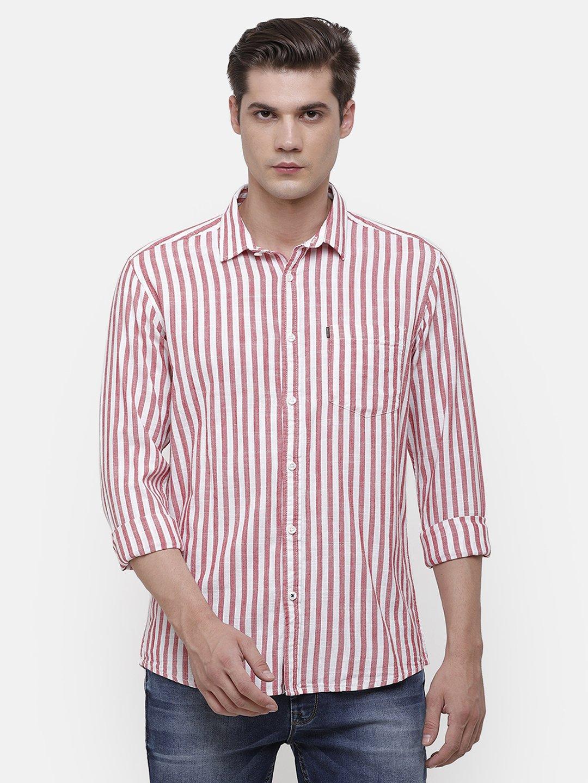 Voi Jeans | Red, White Shirt (VOSH1420 )