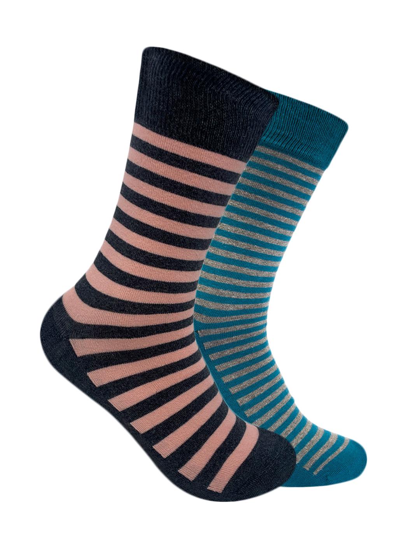 Mint & Oak | Mint & Oak Stripes Calf Length Multi Color Pack Of 2 Socks For Men