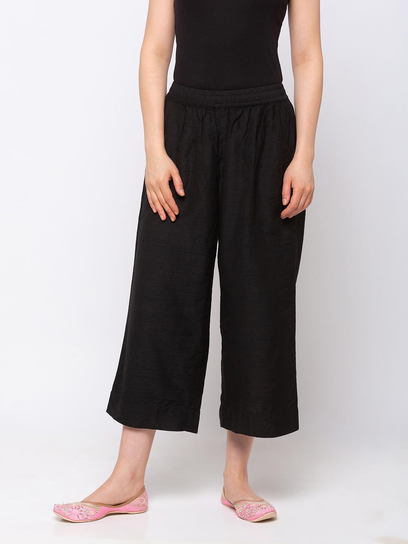 Ethnicity | Ethnicity Silk Straight  Women Black Pants