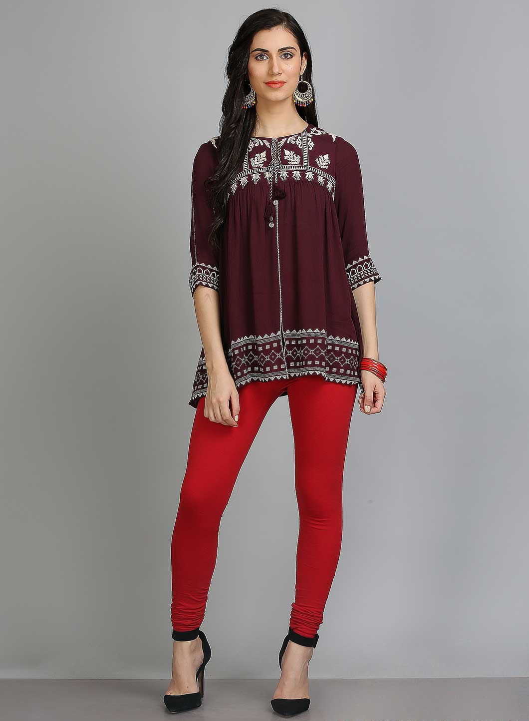 W | W Women Red Color Churidar