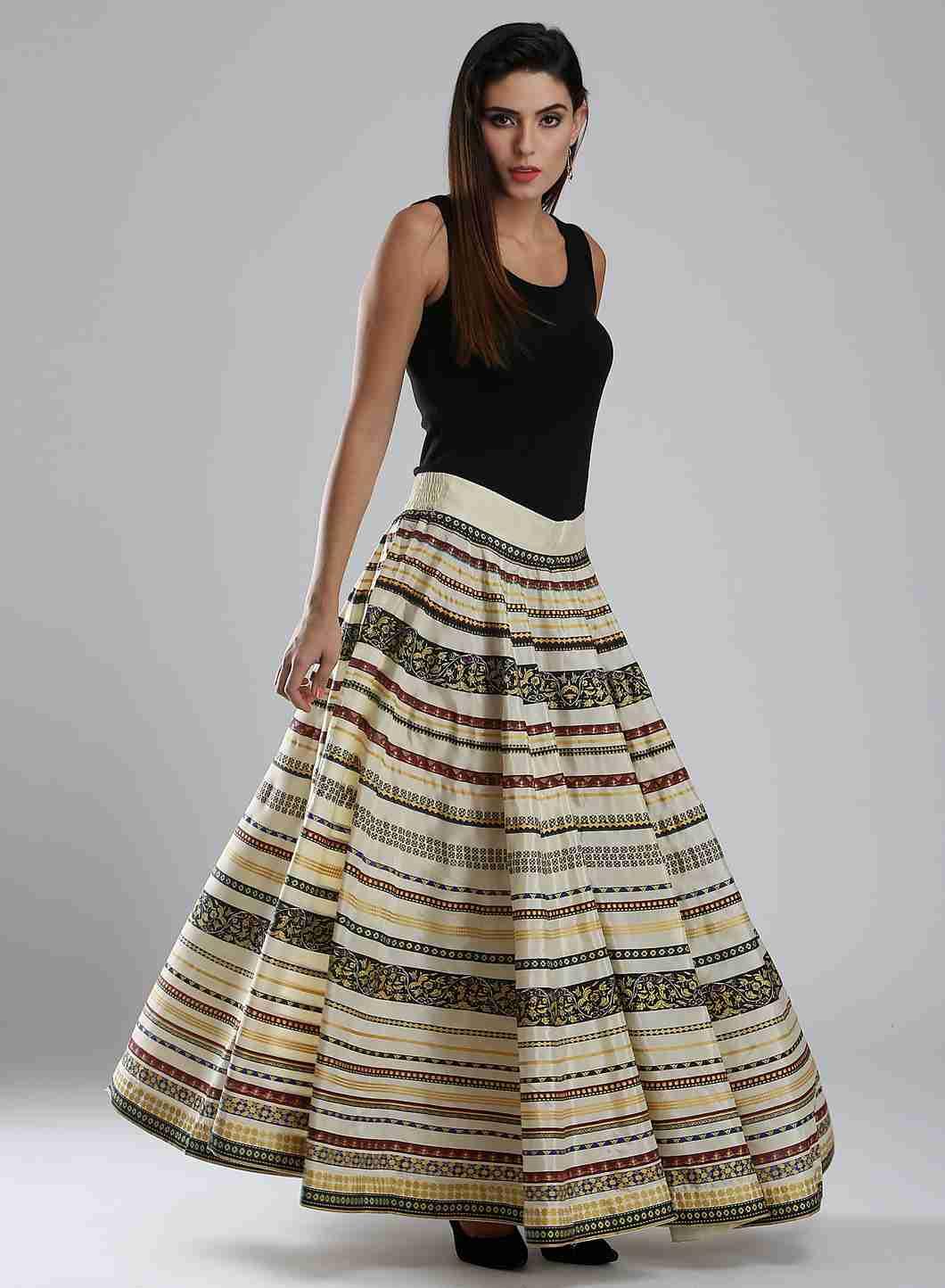 W | Wishful by W-Women White Color Skirt