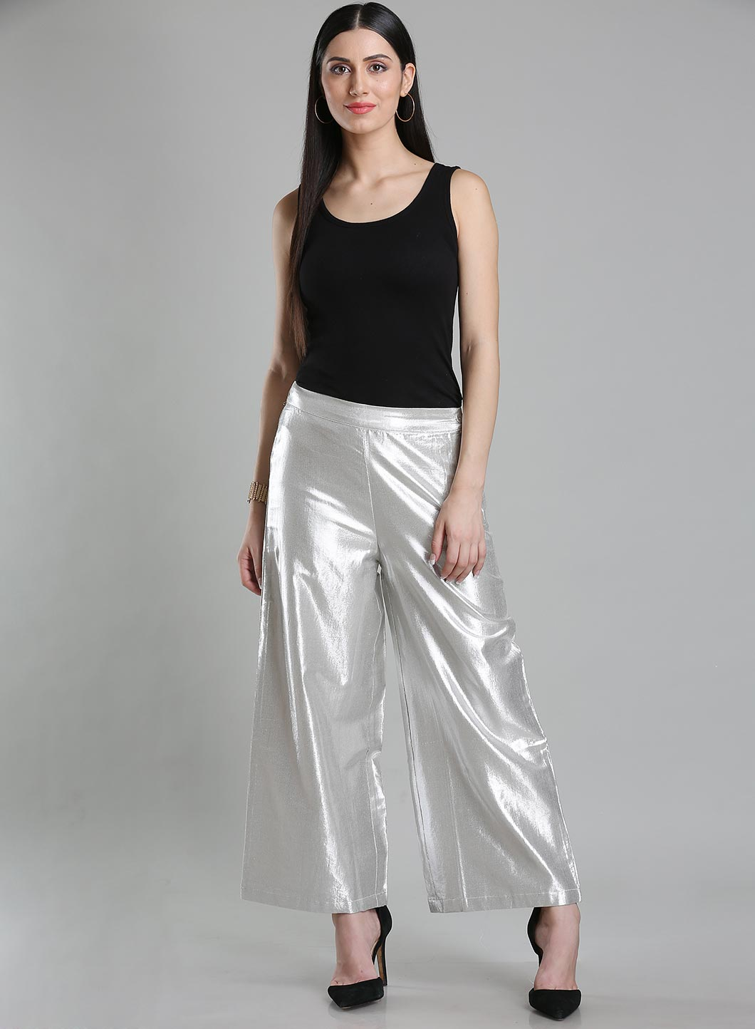 W | Wishful by W-Women Silver Color Pants