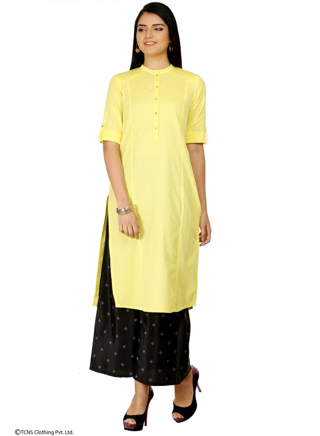 W | W Women Yellow Color Kurta