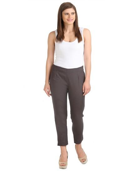 W | W Women Grey Color Trouser