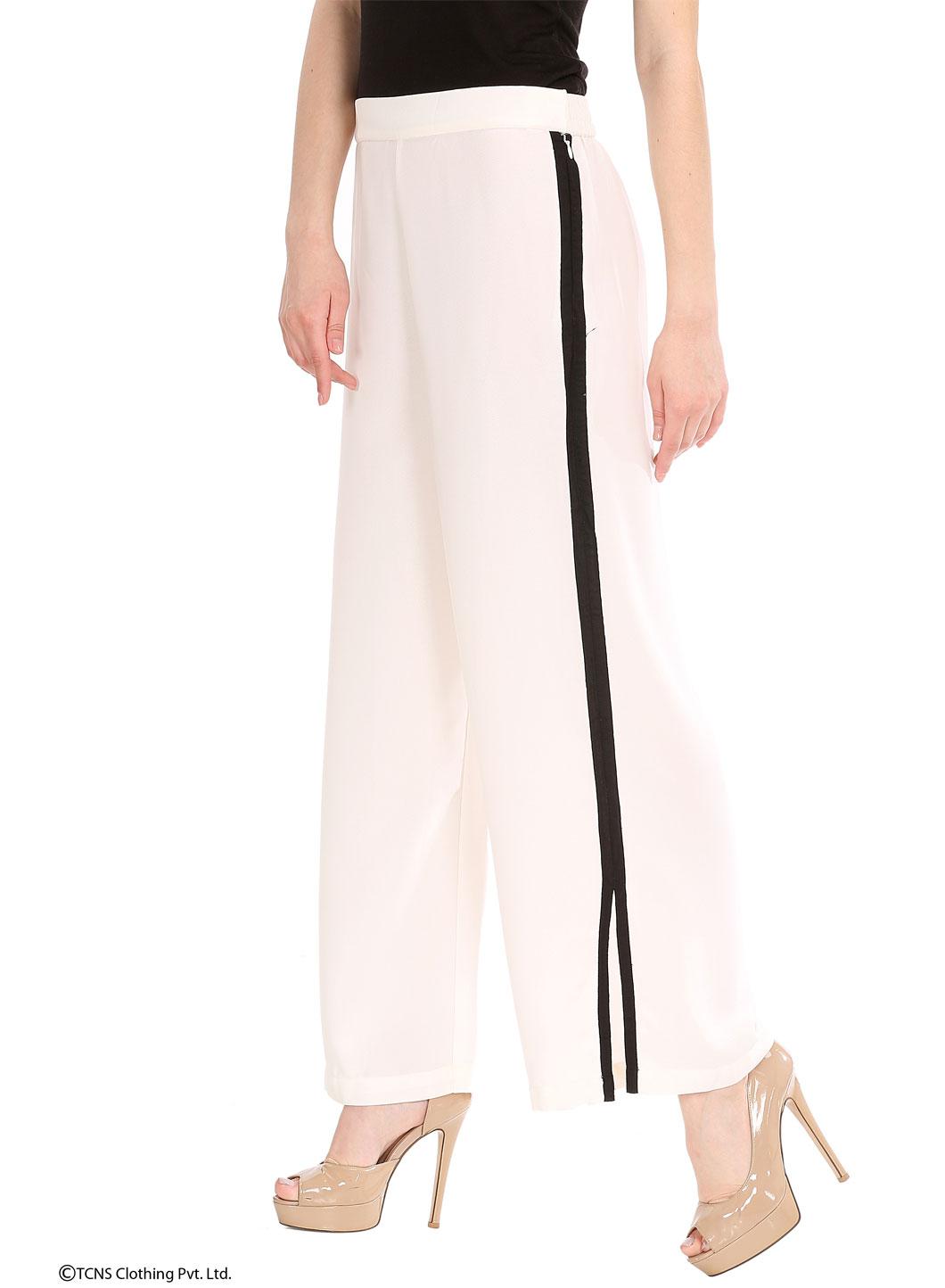 W   W Women White Color Pants