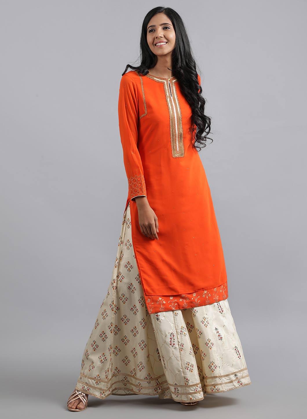 W | Wishful by W-Women Orange Color Kurta