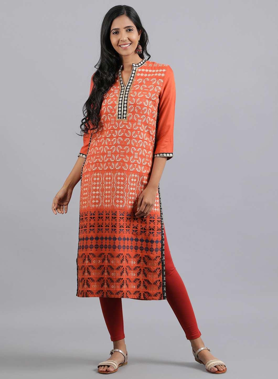 W | W Women Orange Color Kurta