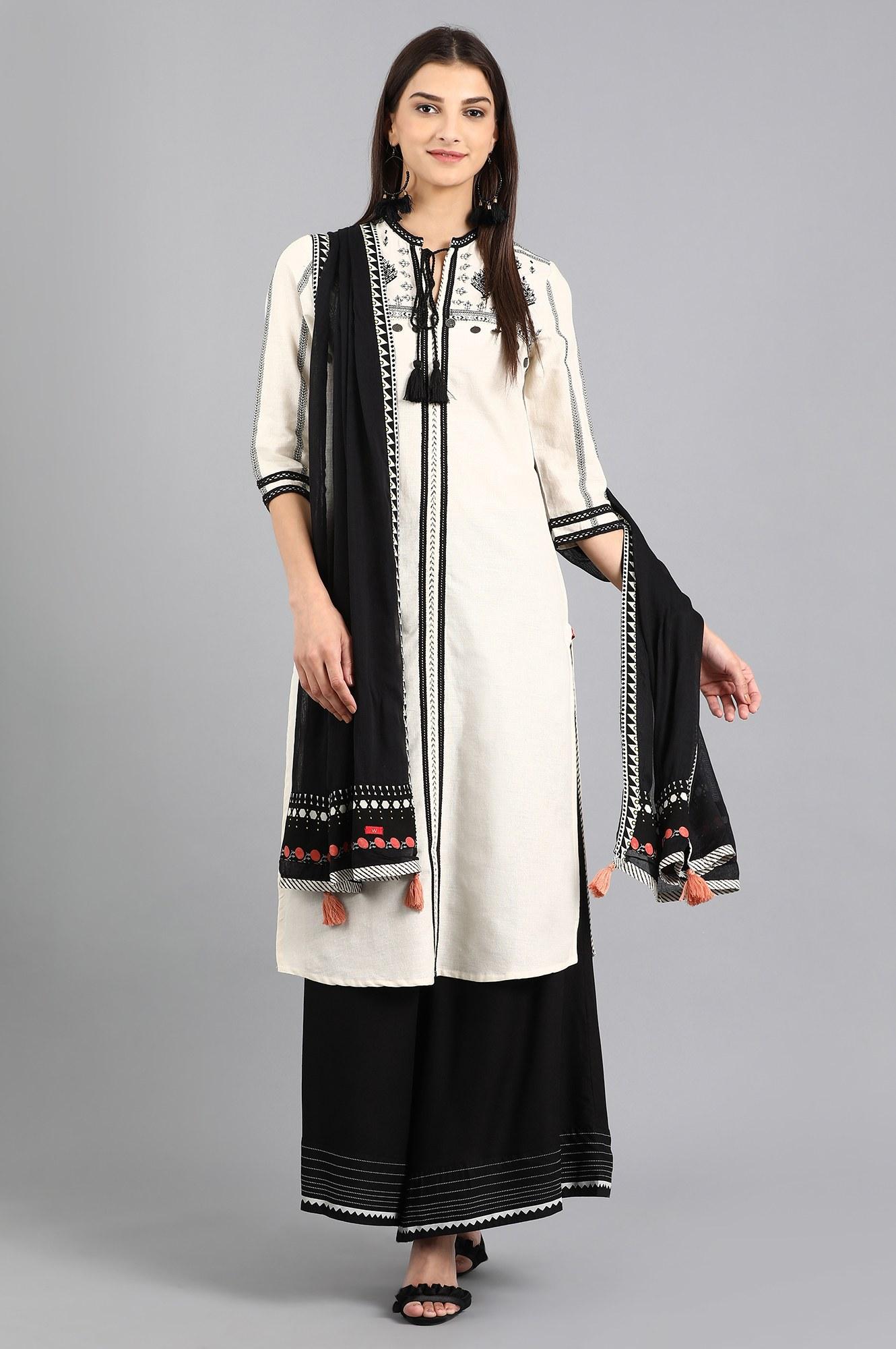 W | W Women White Color Kurta