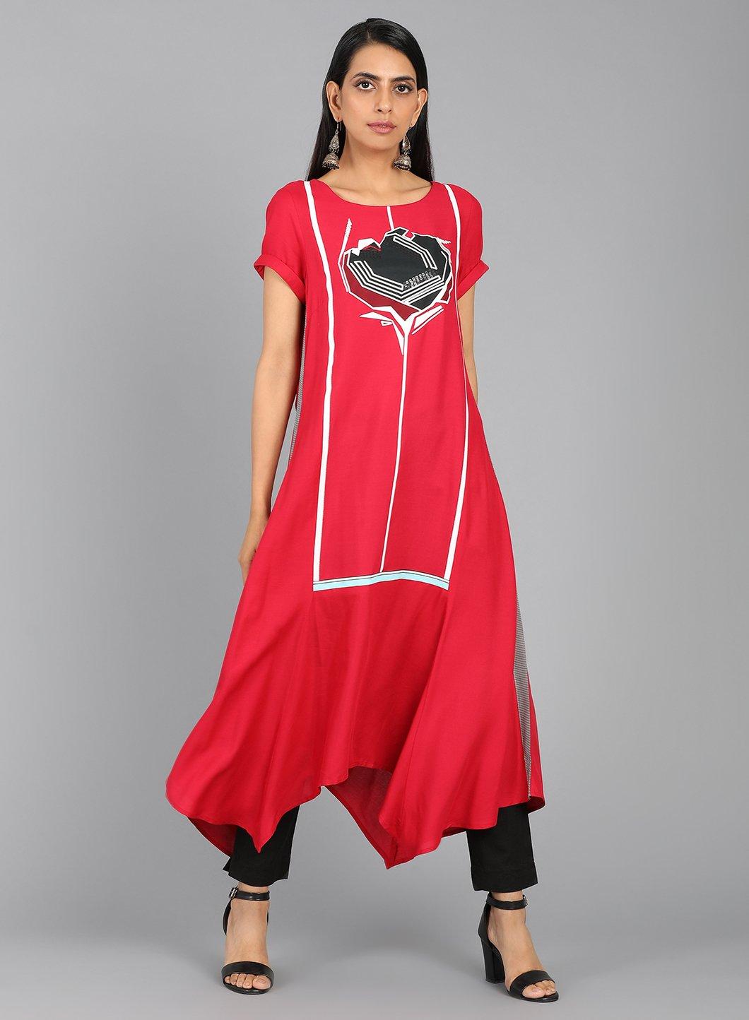 W   W Women Red Color Kurta