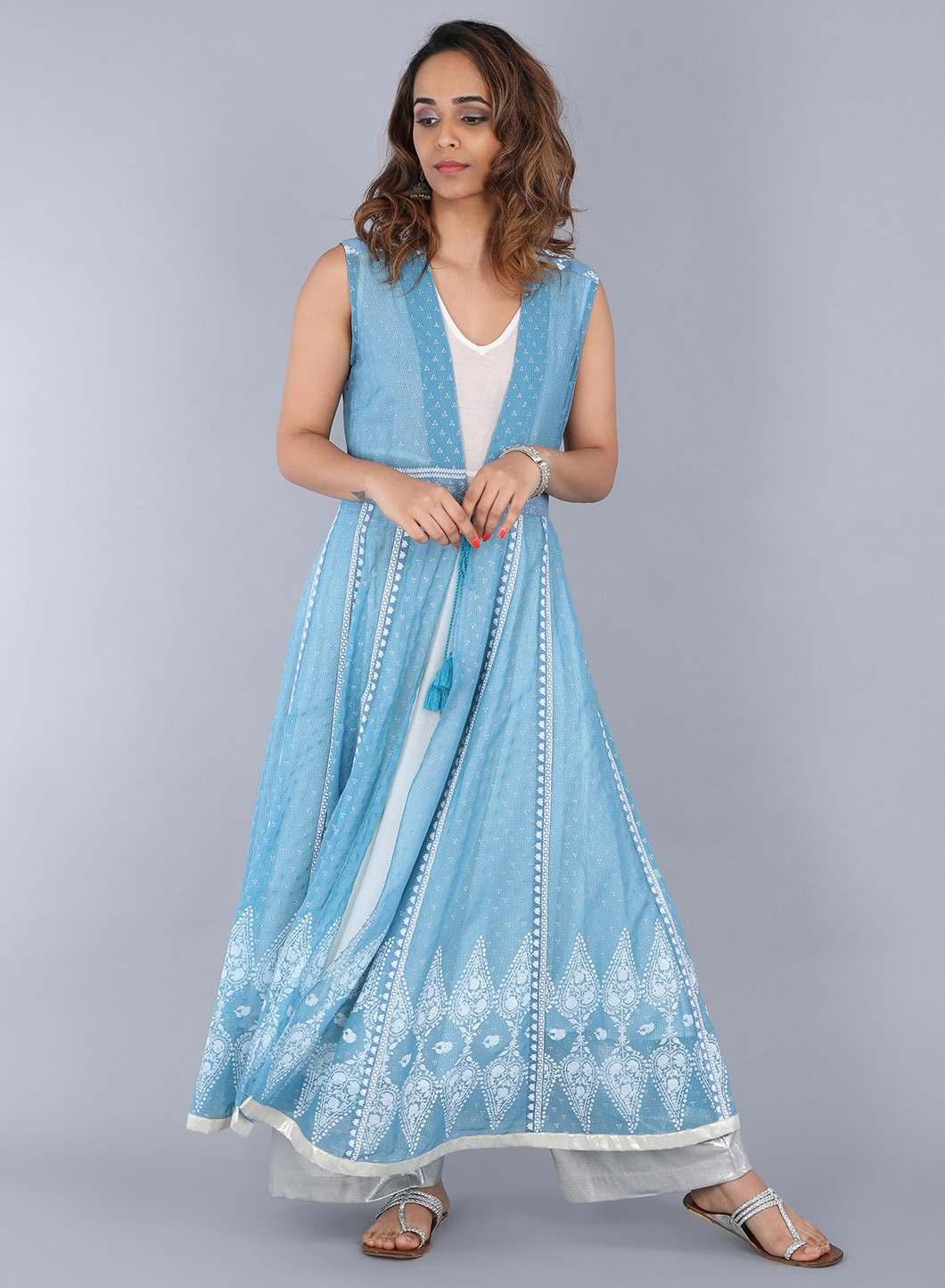 W   W Women Blue Color Gilet