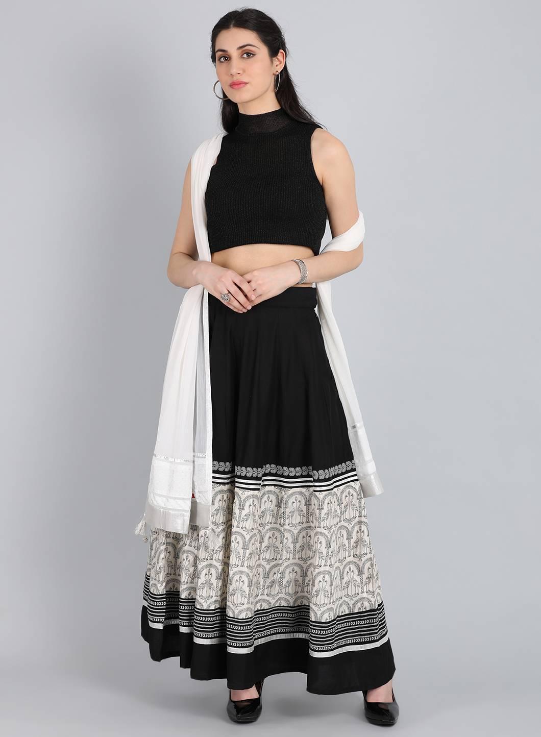 W   W Women Black Color Skirt