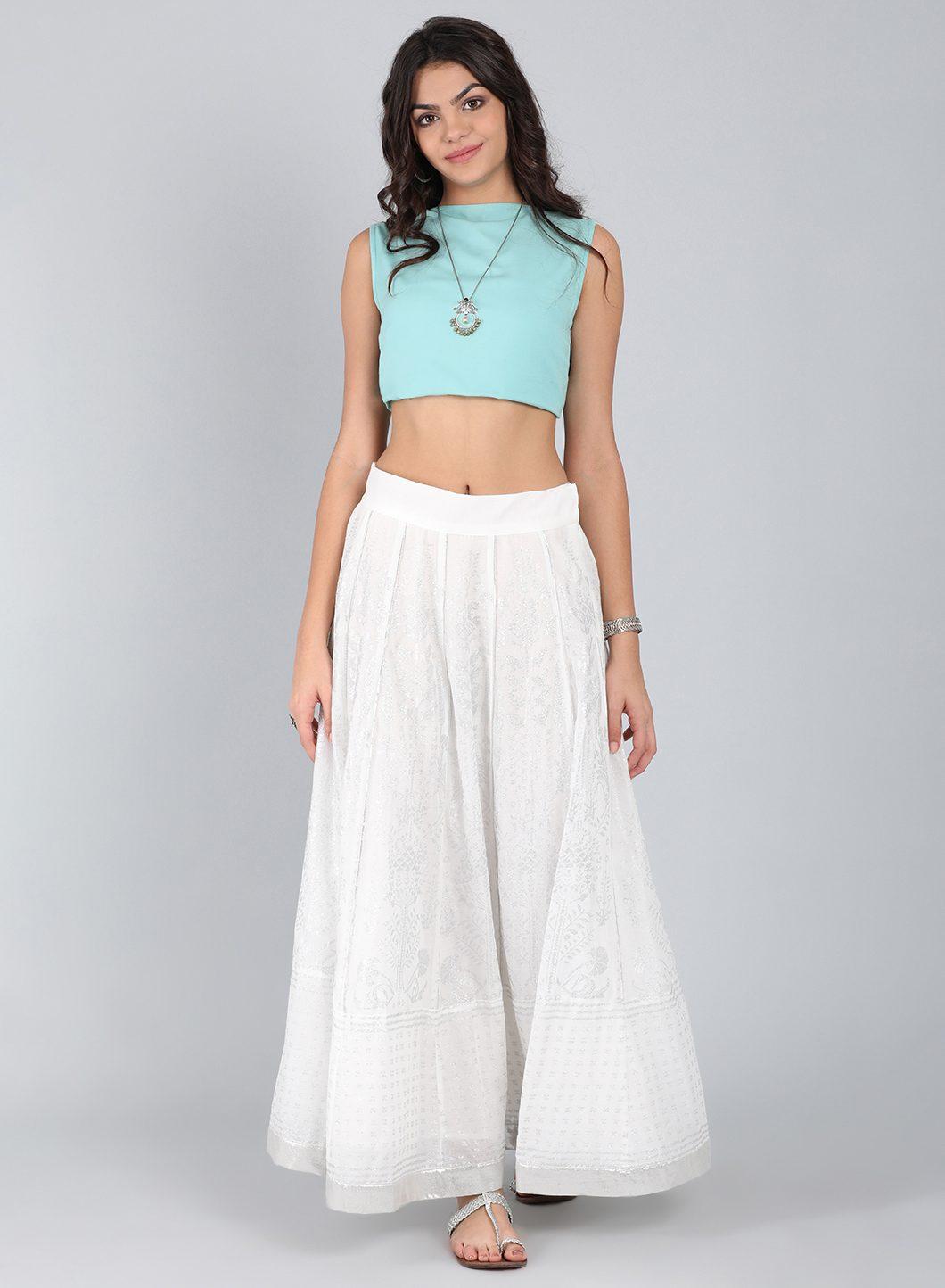 W | W Women White Color Skirt