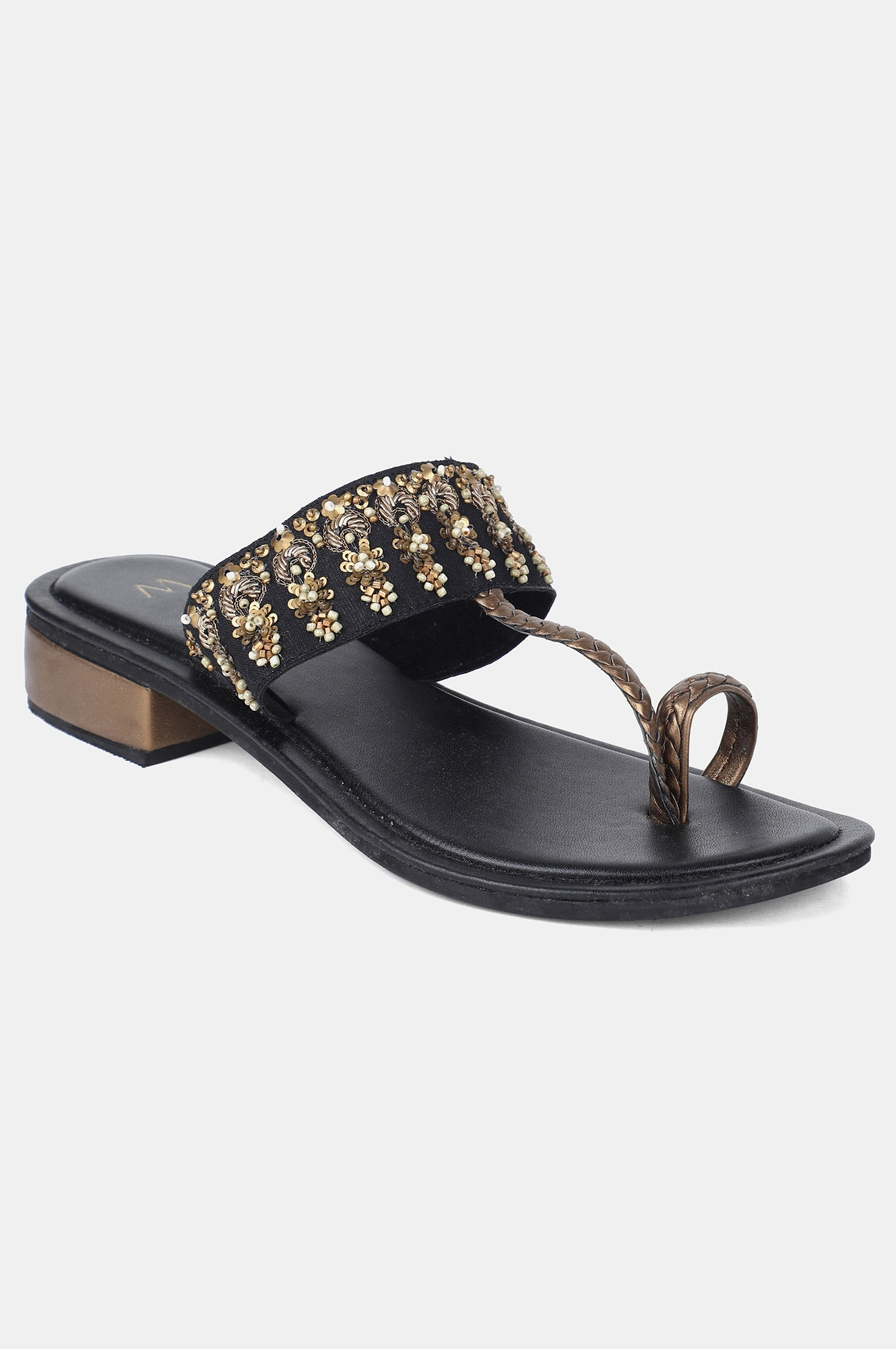 W | W Black Almond Toe Embroidered Block Heel