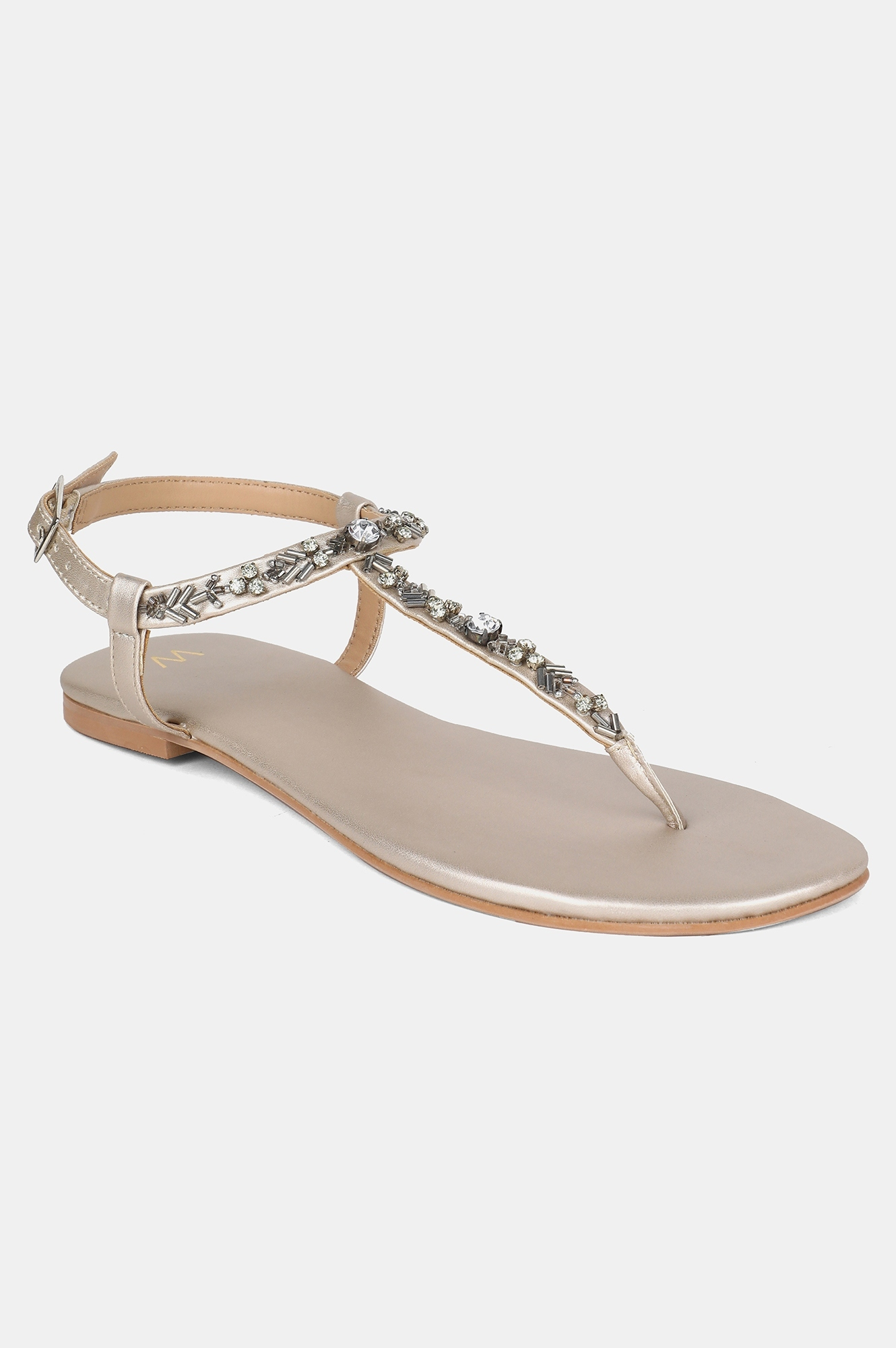 W | W Gold Almond Toe Embellished Flat