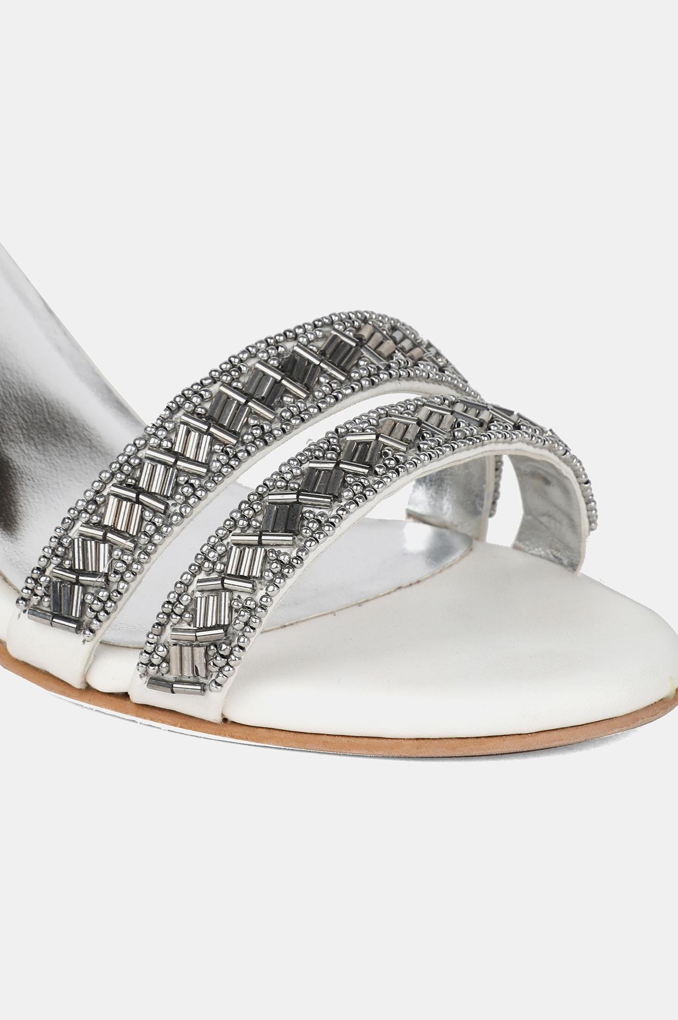 W | W Silver Almond Toe Embroidered Stiletto