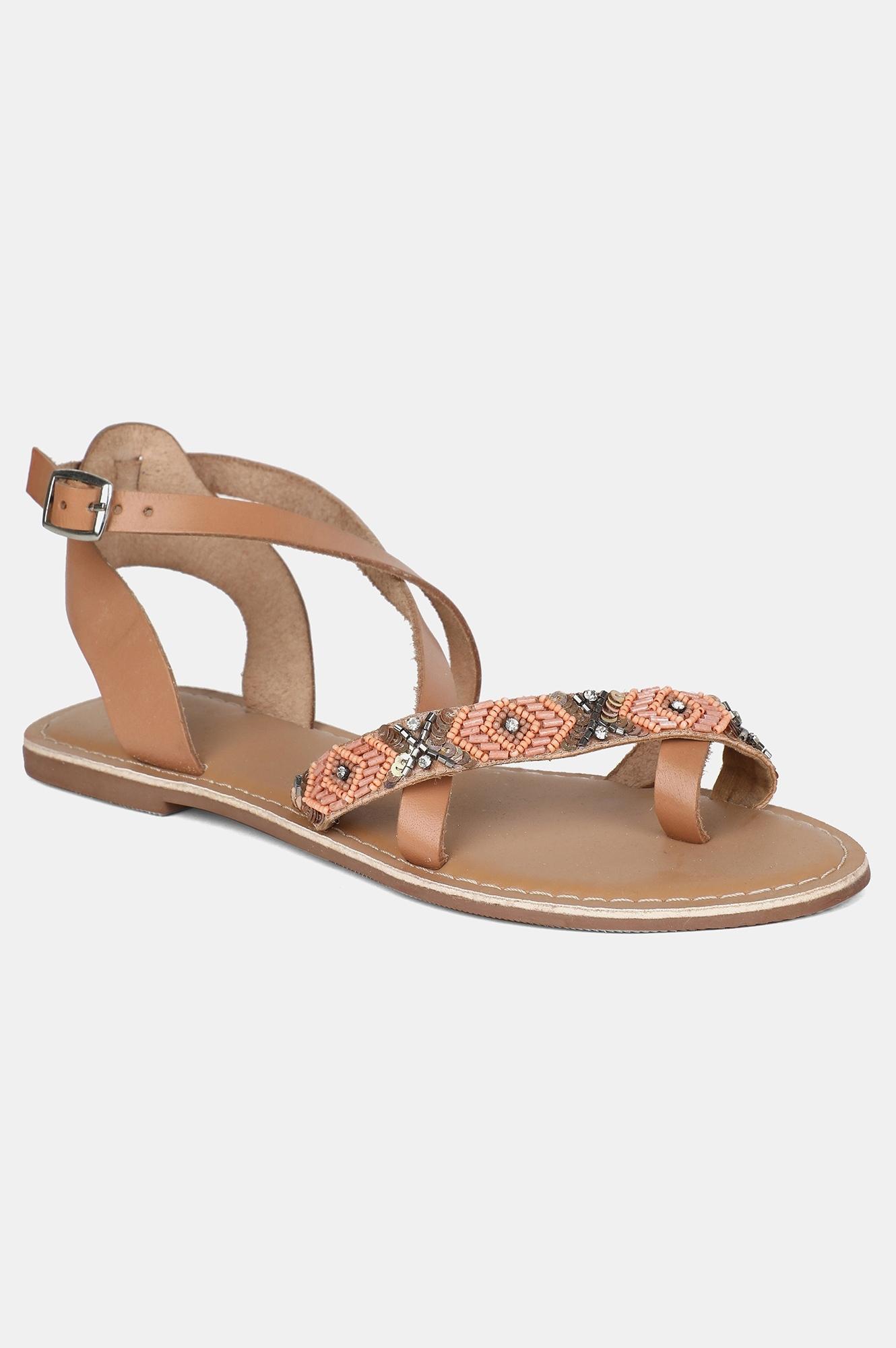 W | W Peach Almond Toe Embroidered Flat