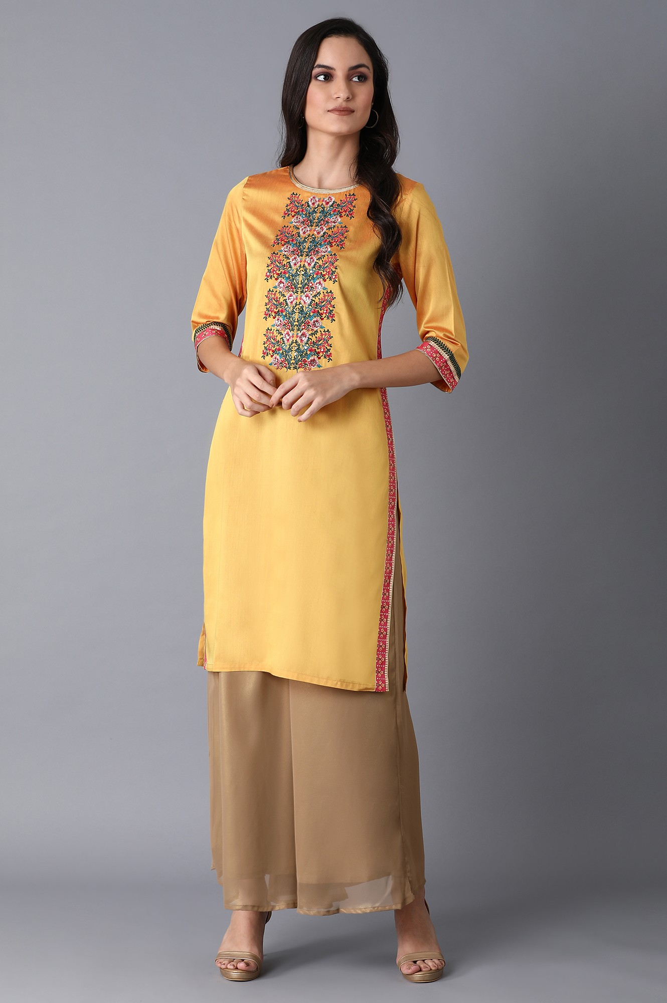 W   Wishful by W Yellow Multicolored Embroidered Kurta