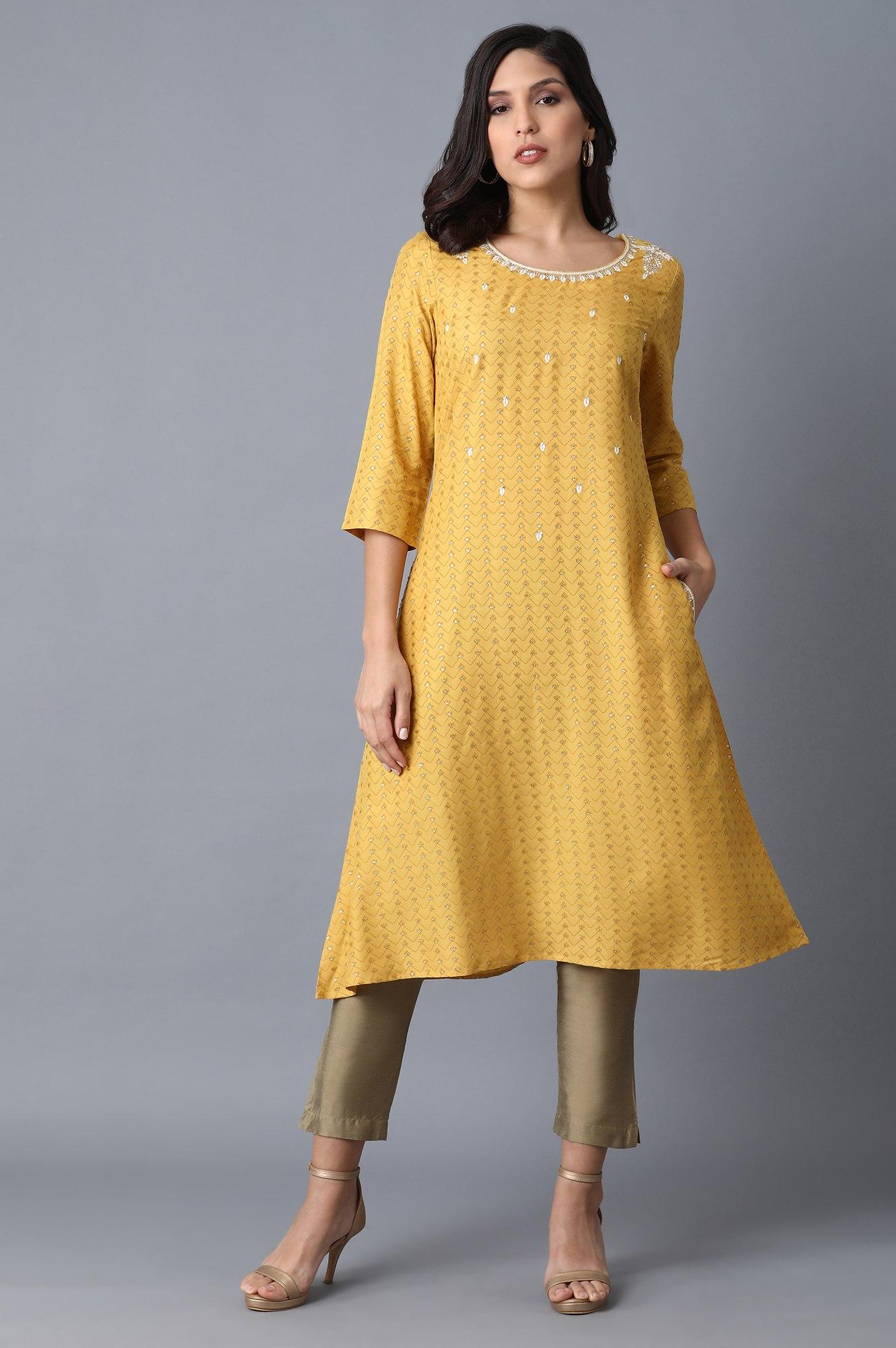 W   Yellow A-Line Kurta