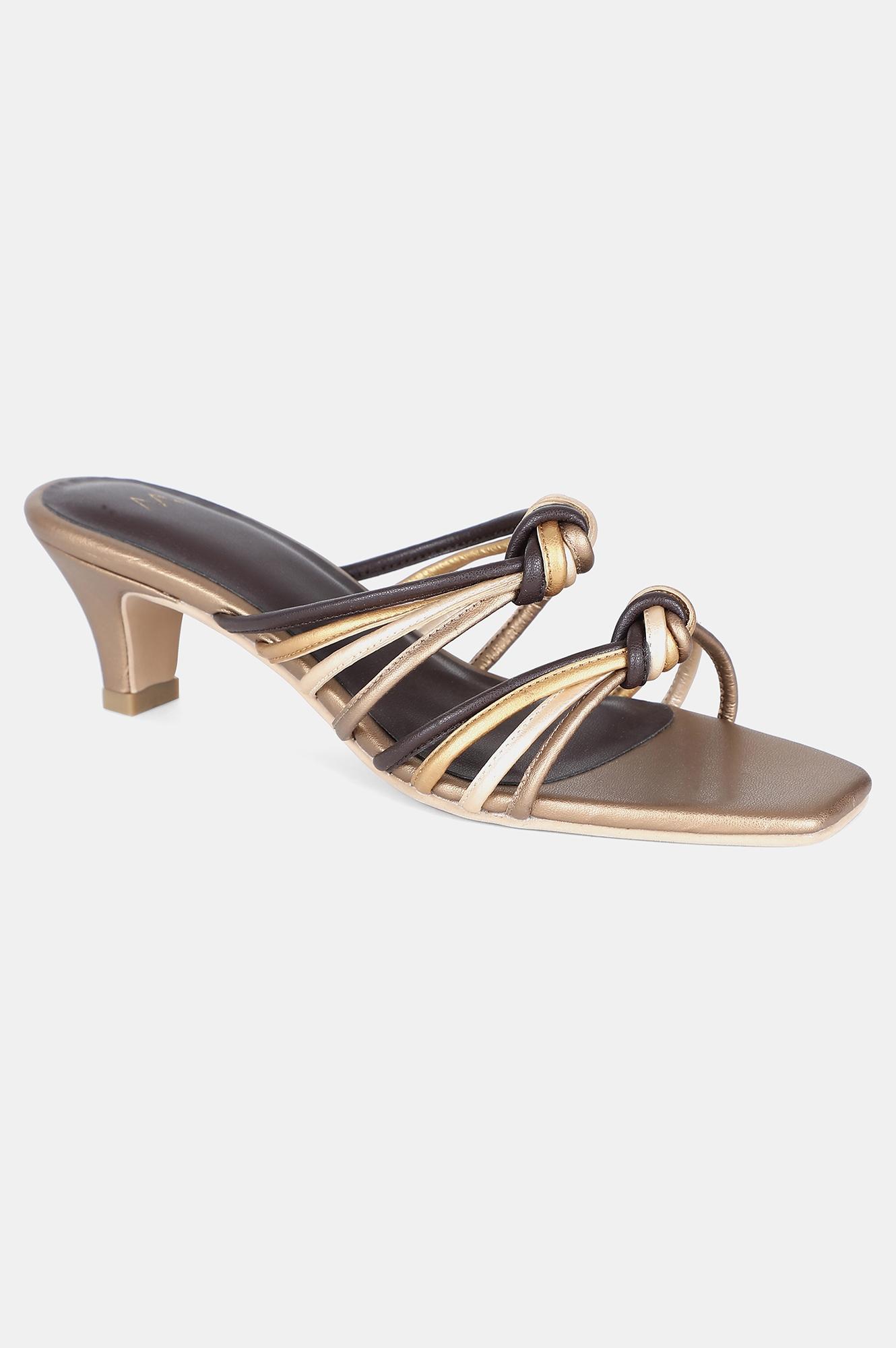 W | Gold Multi Square Toe Solid Kitten Heel