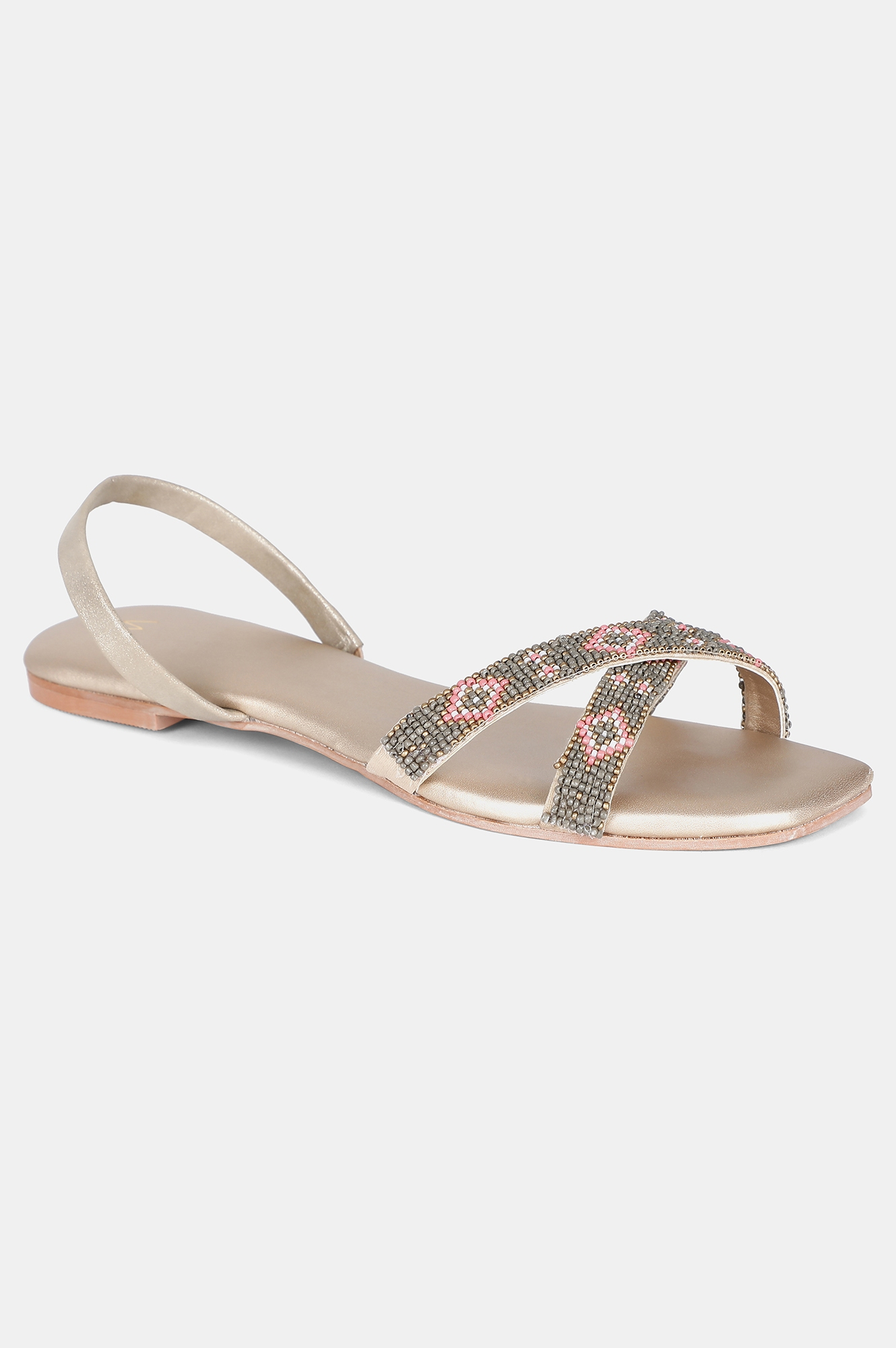 W | Dusty Gold Square Toe Embroidered Flat