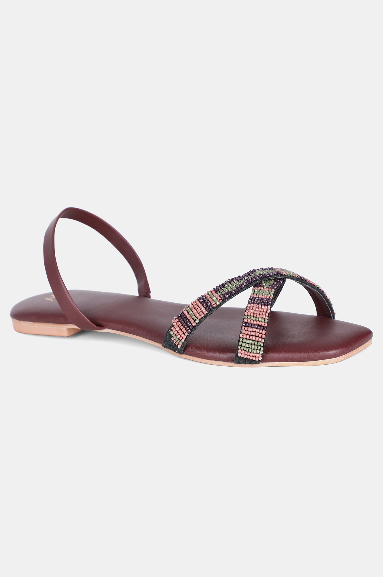 W   Wine Square Toe Embroidered Flat