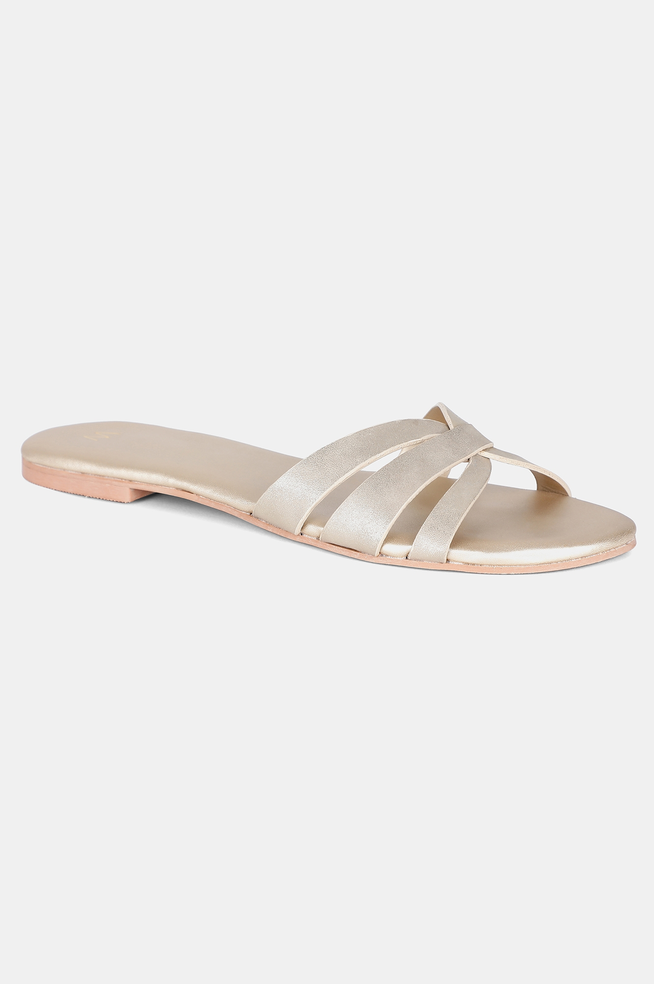 W | Light Gold Almond Toe Textured Flat