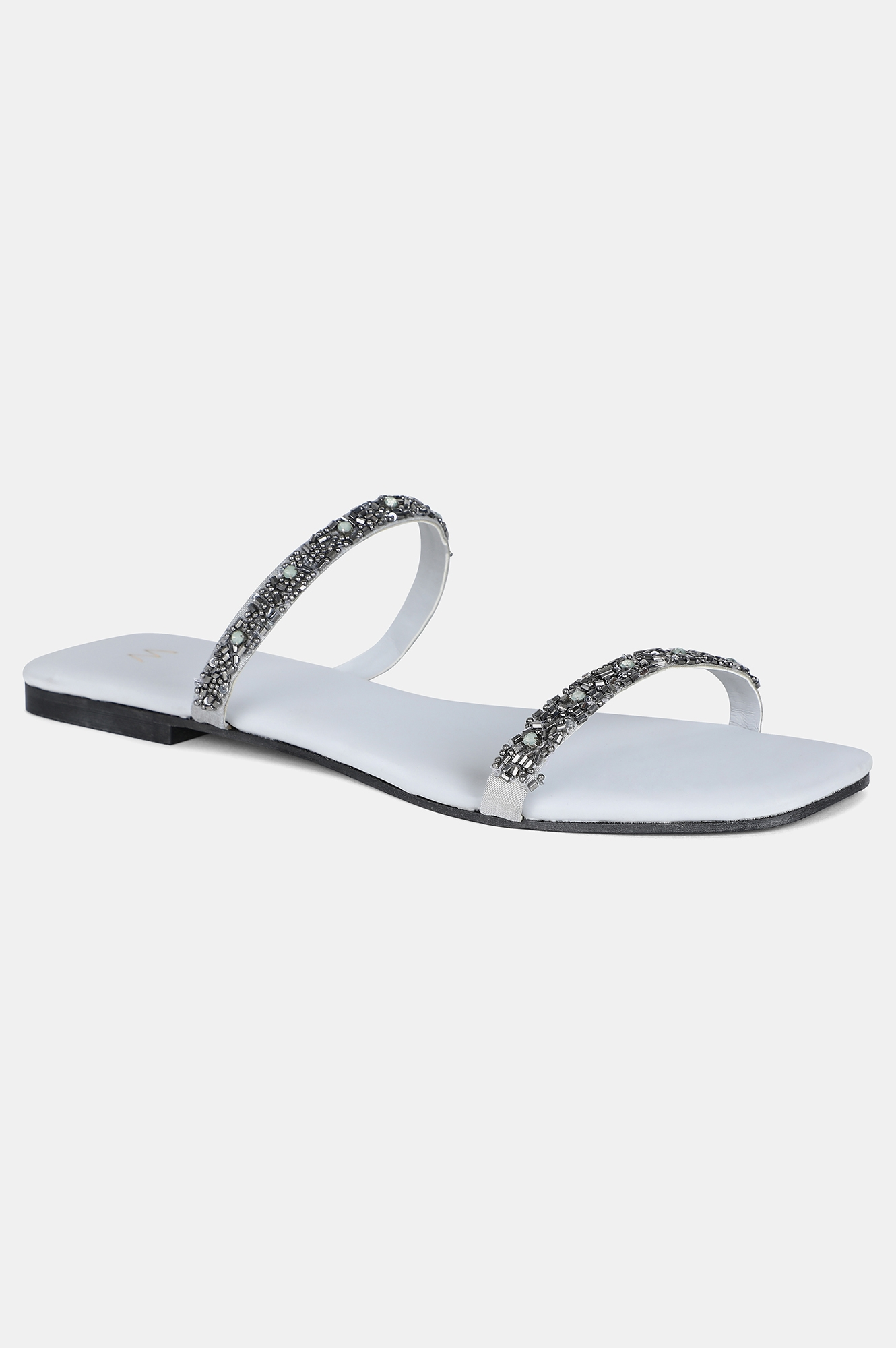 W | Grey Square Toe Embroidered Flat