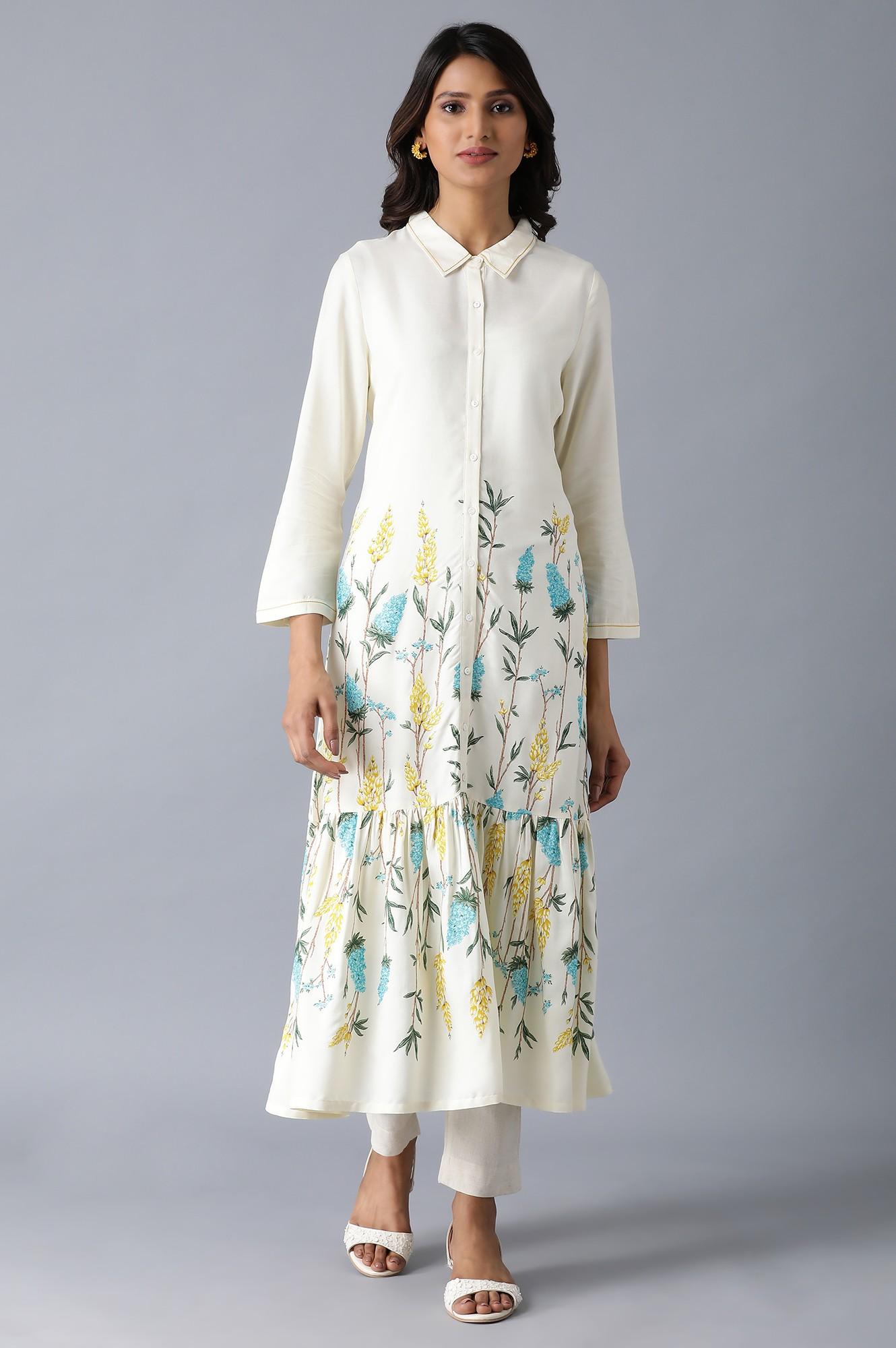 W   Ecru Floral Print Tiered Dress