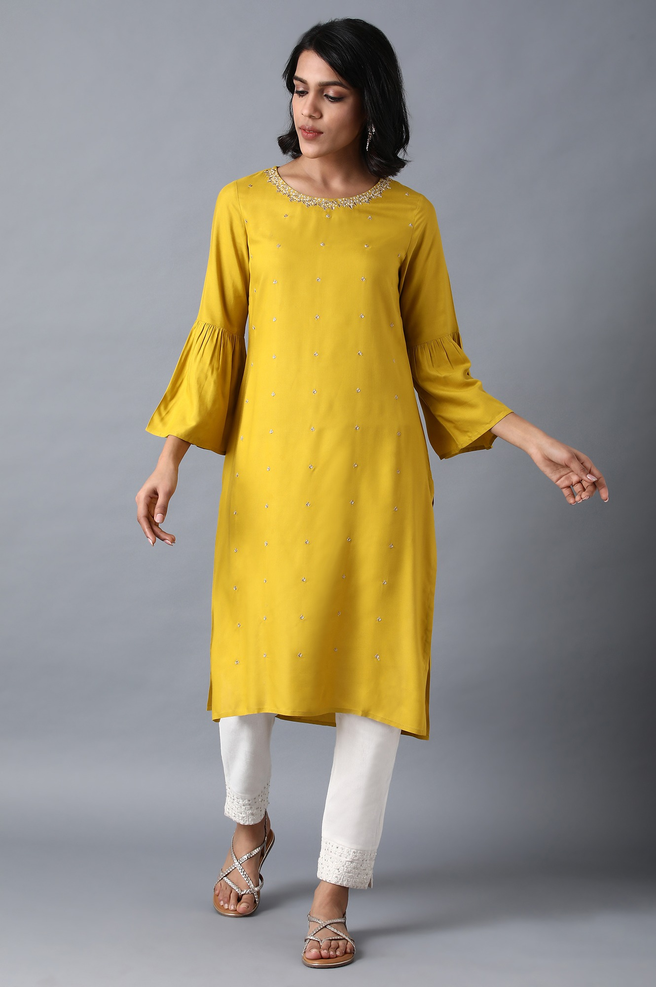W   Yellow Round Neck Embellished Kurta