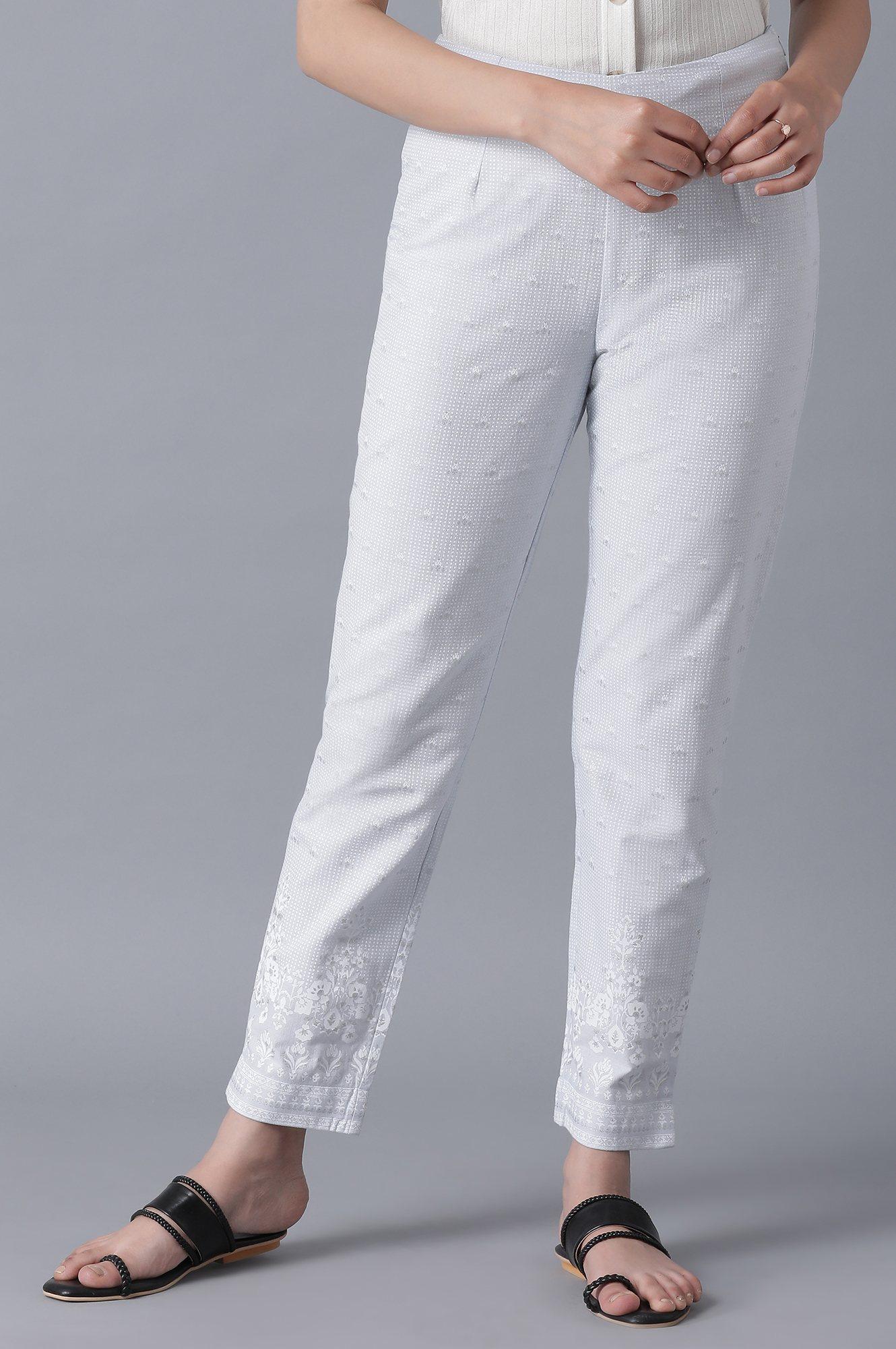 W | Powder Blue Printed Slim Pants