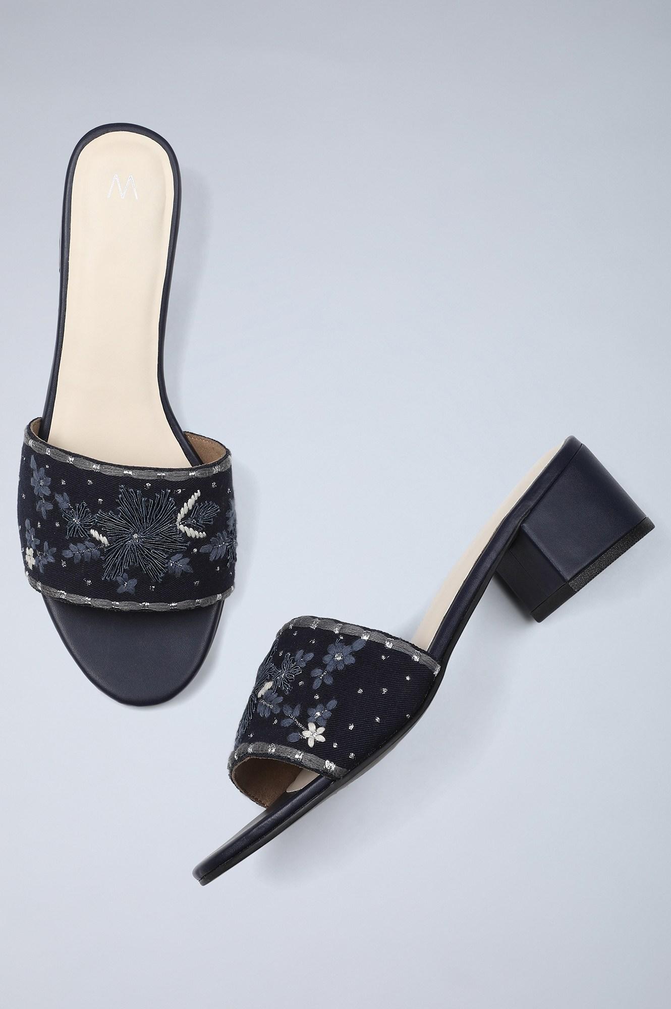 W | Almond Toe Embroidered Block Heel