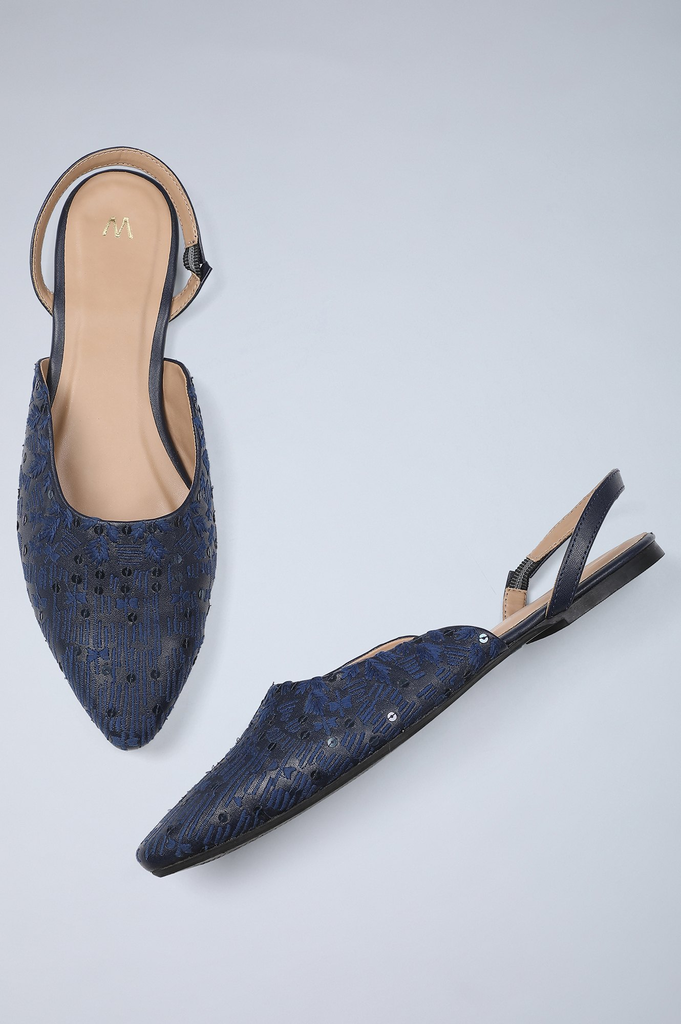W | Pointed Toe Embroidered Flat